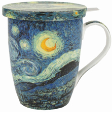 Van Gogh Starry Night Tea Mug with Infuser and Lid